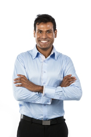Portrait of a handsome Indian Businessman. Isolated on a white background.