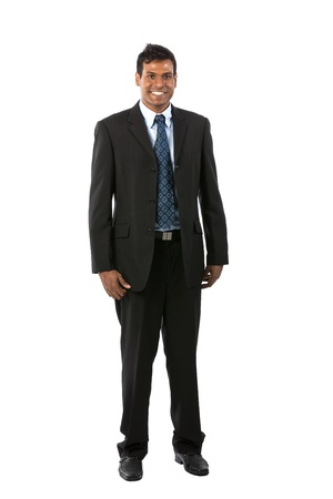 Full length Portrait of an Indian business man. Isolated on a white background. photo