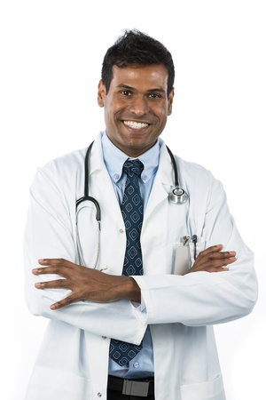 Male Indian doctor wearing a white coat and stethoscope. Isolated on white background. Stock Photo - 15162872