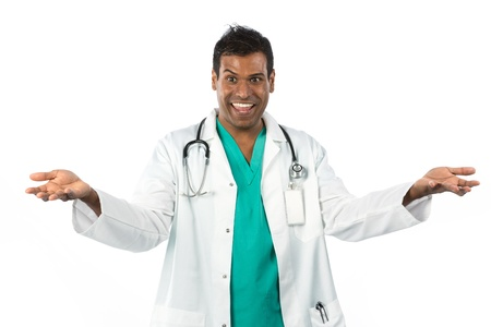 Very Happy male doctor with arms rasied up. Isolated on a white background photo
