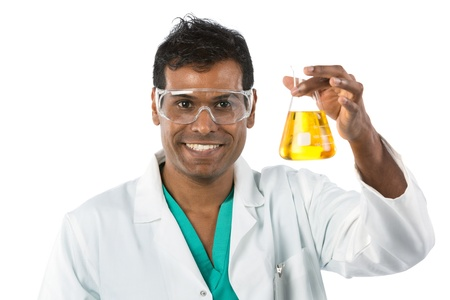 Portrait of a male laboratory assistant holding a flask. Isolated over white. photo