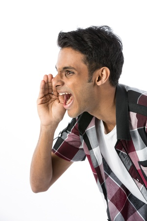 Angry Indian man shouting his message. Isolated against a white background. Stock Photo - 15162929