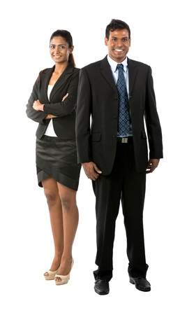 Full length Portrait Portrait of a happy Indian business man & woman. Isolated on a white background. photo