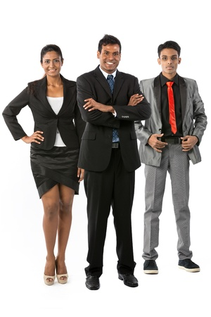 east indian: Happy & successful Indian business team. Isolated on a white background. Stock Photo