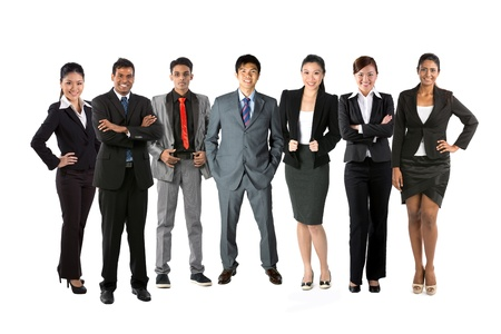 businessteam: Full length Portrait of a multi-culural business team. Isolated on a white background. Stock Photo