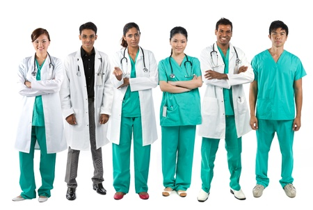 Asian Male and Female medical team wearing uniforms. Isolated on white. Full length Portrait. photo