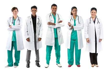 Asian Male and Female medical team wearing uniforms. Isolated on white.  photo
