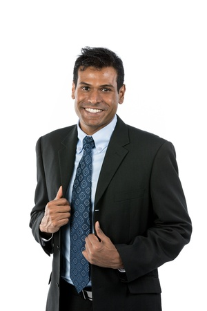 Upper body Portrait of a happy Indian business man. Isolated on white background. photo