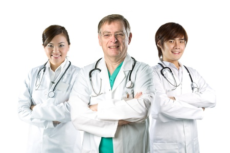 Multiracial team of doctors wearing a white coats with stethoscope's. Isolated on white. Stock Photo - 15564799