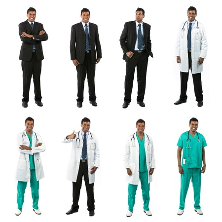 Different poses of the same male model wearing business and medical clothing  Isolated over white background  photo