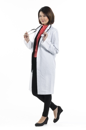 Full Length Of A Chinese Lady Doctor Wearing A White Coat And ...