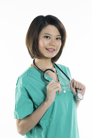 Close up Portrait of a Female Chinese doctor wearing a green scrubs and stethoscope. Isolated on white.  photo