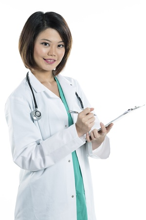 Portrait of a cute Female Chinese doctor wearing a green scrubs and a lab coat holding a clipboard. Isolated on white. photo