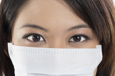 Close-up portrait of Chinese woman wearing a surgical mask. photo