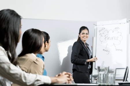 Indian businesswoman 'brainstorming' ideas with her colleagues at meeting photo