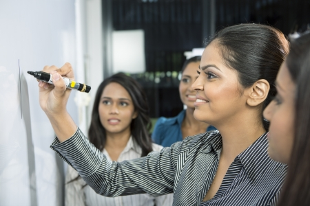 group leader: Indian business woman writing on a whiteboard with her team around her.