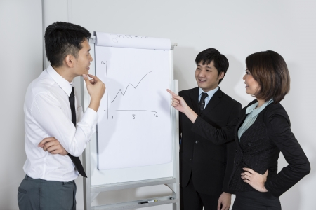 Chinese Business team discussing a finance chart photo