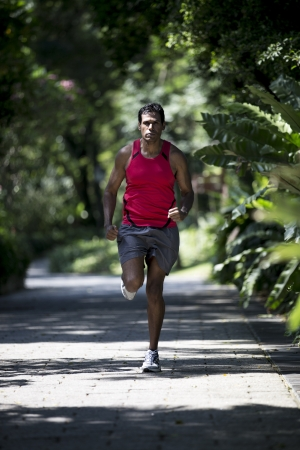 Athletic Indian man running in park. Asian Runner jogging outdoors with trees in background. Male fitness concept. photo