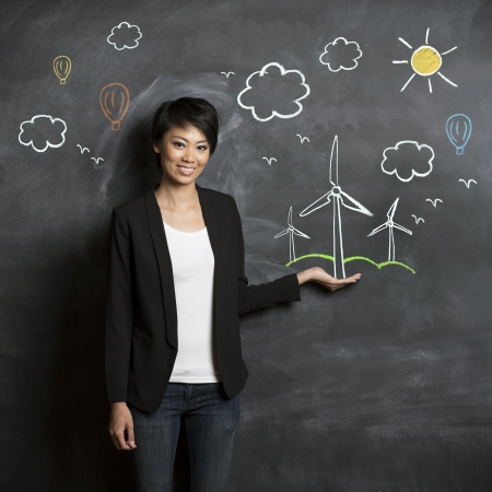 Asian woman standing in front of eco environment sketch on chalkboard