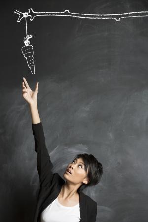Conceptueel beeld over de motivatie en het bereiken van een doel Wortel en stok getekend met krijt op een schoolbord Stockfoto