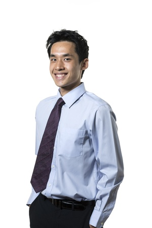 Portrait of an Asian business man. Isolated on a white background. Stock Photo