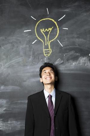 Portrait d'un homme d'affaires asiatique debout à côté d'un tableau noir.