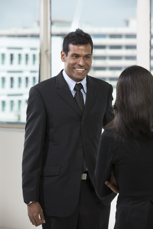 business relationship: Indian business colleagues having a meeting in office. Stock Photo