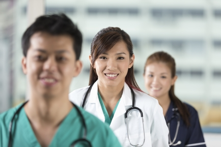 Asian Medical team of doctors and nurses standing in a hospital. photo