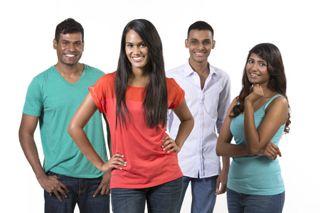 south asian: Happy group of Indian friends. Isolated on a white background.