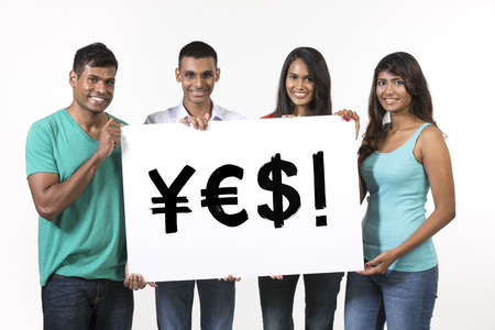 indian currency: Indian people holding banners with currency symbols spelling YES. Isolated on white background.