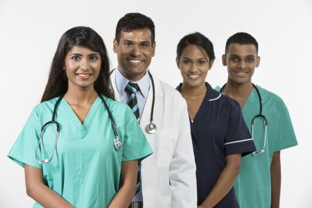 doc: Indian medical team standing on white background