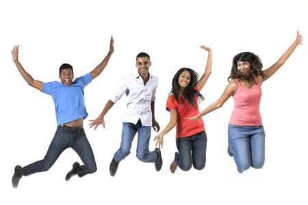 indian college student: Excited group of Indian men and women jumping for joy. Isolated on white background.