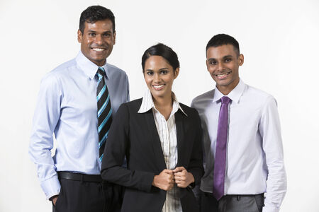 black man white woman: Team of three happy Indian business people. isolated on a white background.