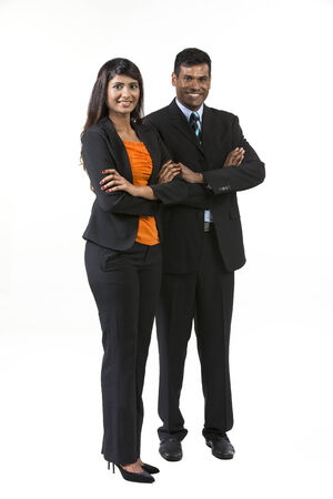 south asian: Two Indian Business People. Indian man and woman business partners. isolated on a white background.