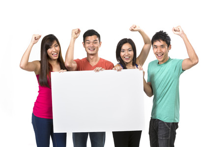 Group of Chinese people with a banner ad. Isolated on white background.