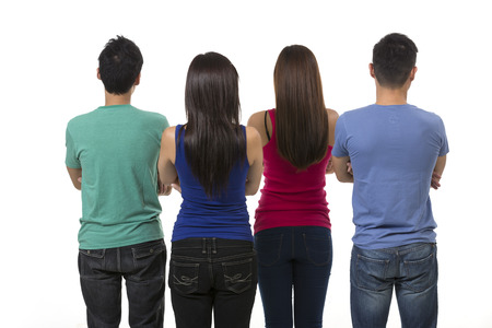man rear view: Back view of a Group of Asian friends. Isolated on a white background.