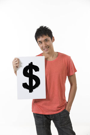 Chinese man holding up a banner against a white background. Cardboard placard is blank ready for your message. photo