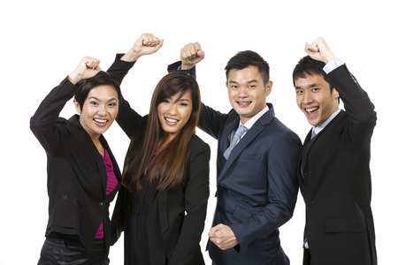 asian business people: Happy Chinese business team celebrating success. Isolated on white background