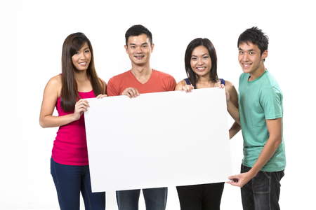 four poster: Group of Chinese people with a banner ad. Isolated on white background.