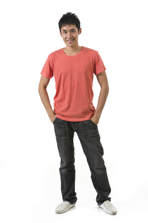 red jeans: Portrait of a happy Chinese man. Isolated on white background.