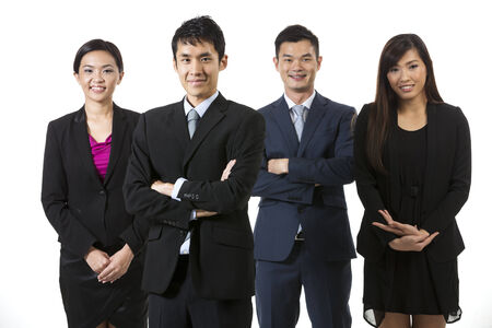 Group of Chinese business people. Business team Isolated on white background. photo