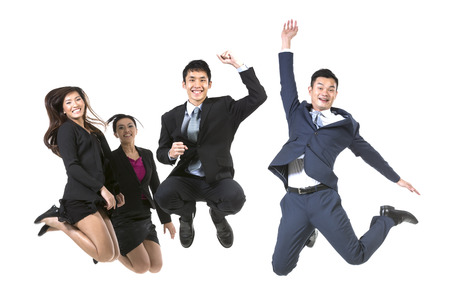 young cheering: Group Of Chinese Business People jumping in the air. isolated on a White Background