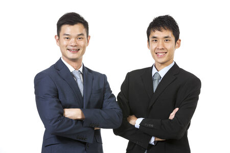 south asian: Portrait of a two Chinese Business men. Isolated on a white background.