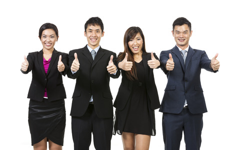 Happy Chinese business team celebrating success. Isolated on white background