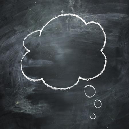 Dessiné à la main bulle de pensée sur un tableau noir foncé. Banque d'images - 29578905