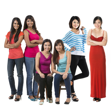 south asian: Group portrait of Six happy Asian women. Isolated on a white background.