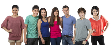 Happy group of Chinese friends. Isolated on a white background. photo