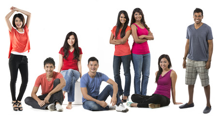 south asian: Large Group Portrait of a happy Asian people. Isolated on white background. Stock Photo