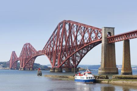 forth: Forth Bridge on a sunny day. The Forth rail Bridge connects Edinburgh to Fife in Scotland, UK.