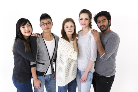 mixed races: Happy group of friends. Mixed race group. Isolated on a white background.